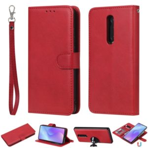 For Xiaomi Redmi K20 Solid Color Horizontal Flip Protective Case with Holder & Card Slots & Wallet & Photo Frame & Lanyard(Red)