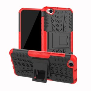 Tire Texture TPU+PC Shockproof Protective Case for Xiaomi Redmi Go, with Holder (Red)