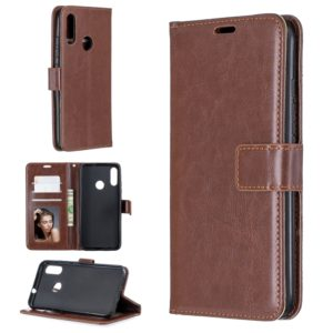 For Moto E6 Plus Crazy Horse Texture Horizontal Flip Leather Case with Holder & Card Slots & Wallet & Photo Frame(Brown)