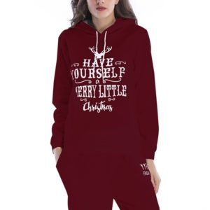 Hooded Long Sleeve Casual Loose Sweatshirt (Color:Wine Red Size:M)