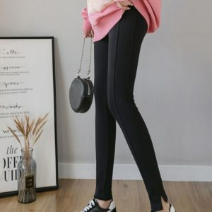 Cotton Outer Wear Feet Plus Velvet Leggings Pregnant Women (Color:Black Size:XXL)