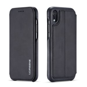 For iPhone XR Hon Ancient Series Leather Case with Card Slots & Holder & Wallet(Black) (LC.IMEEKE)