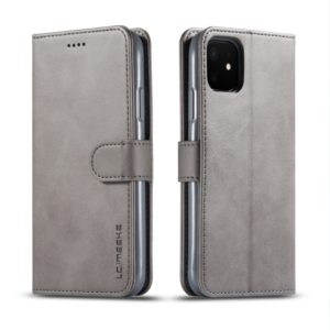For iPhone 11 LC.IMEEKE Calf Texture Horizontal Flip Leather Case, with Holder & Card Slots & Wallet(Grey) (LC.IMEEKE)