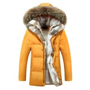 Men and Women Leisure Down Jacket Winter Thick Warm lovers Fur Collar, Size:S(Yellow)