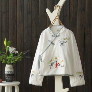 2 PCS National Wind Retro Plate Buttons Stand Collar Loose Cotton Embroidered Costume Han Clothing for Women, Size:M(White)