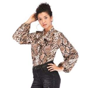 Fashion Vintage Tie-neck Print Snake Print Shirt(Color:As Show Size:M)