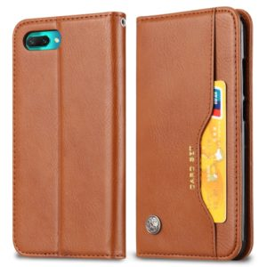 Knead Skin Texture Horizontal Flip Leather Case for Huawei Honor 10, with Photo Frame & Holder & Card Slots & Wallet(Brown)