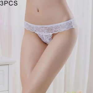 3 PCS FunAdd Women Low-waisted V-shaped Lace Sexy Enticing Thongs Panties, Free Size (White) (FunAdd)