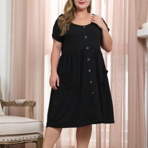 Round Neck Raglan Sleeve Buckle Double Side Pockets Large Size Dress (Color:Black Size:XXL)