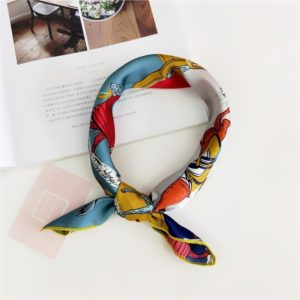 Square Scarf Hair Tie Band For Business Party Women Elegant Small Vintage Skinny Retro Head Neck Silk Satin Scarf(24)
