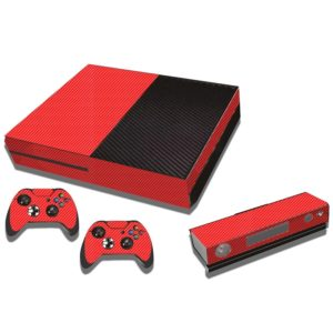 Carbon Fiber Texture Decal Stickers for Xbox One Game Console(Red)