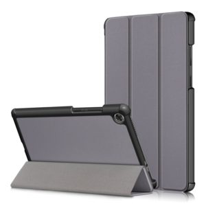 For Lenovo Tab M8 Custer Texture Horizontal Flip Smart TPU Leather Case with Three-folding Holder(Grey)