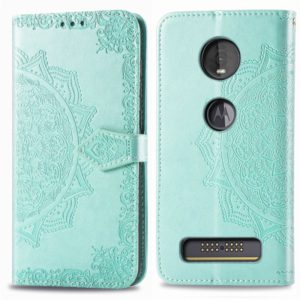 For Motorola Moto Z4 Embossed Mandala Pattern PC + TPU Horizontal Flip Leather Case with Holder & Card Slots(Green)