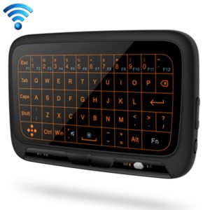 H18+ 2.4GHz Mini Wireless Keyboard Full Touchpad with 3-Level Adjustable Backlight(Black)