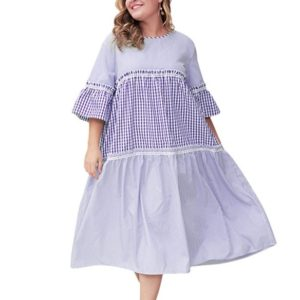 Plaid Striped Trumpet Sleeve Dress Large Size Loose Dress (Color:Blue Size:XXXL)