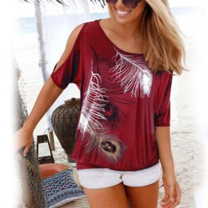 Casual Short Sleeve Tops Tees Sexy Off Shoulder Feather Print O-neck Loose Shirts for Women, Size:XXXXL(Wine Red)