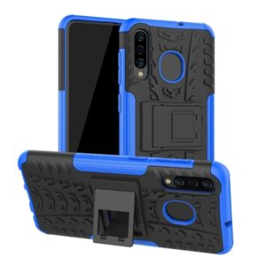 Tire Texture TPU+PC Shockproof Phone Case for Galaxy A50 / A20 / A30, with Holder (Blue)