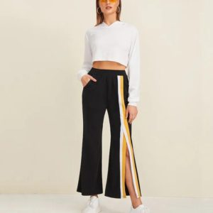 Before Hit Color Mosaic Slit Side Pockets Wide Leg Slacks (Color:Black Size:L)