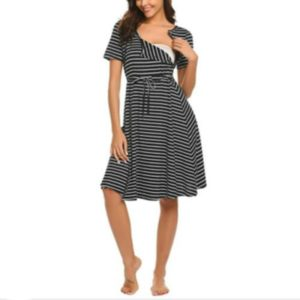 Casual Maternity Breastfeeding Sleeveless Loose Nursing Dress, Size:L(Black)