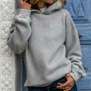 Fashion Hoodie Long Sleeve Blouse (Color:Grey Size:XL)