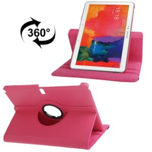 360 Degree Rotatable Litchi Texture Leather Case with 2-angle Viewing Holder for Galaxy Tab Pro 10.1 / T520(Magenta)