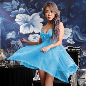 FunAdd Women Sexy Sheer Solid Color Lace Strap Dress Chemise Babydoll Lingerie with G-string Blue, Size: Fit Weight 40-60kg (FunAdd)