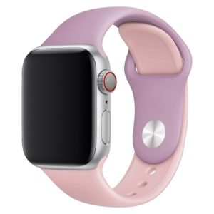 Double Colors Silicone Watch Band for Apple Watch Series 3 & 2 & 1 42mm (Purple+Light Pink)