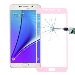 0.26mm 9H Surface Hardness Explosion-proof Colorized Silk-screen Tempered Glass Full Screen Film for Galaxy Note 5 / N920(Pink)