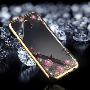 For Galaxy J3 (2017) (EU Version) Flowers Pattern Diamond Encrusted Electroplating Soft TPU Protective Cover Case (Gold)