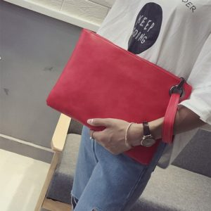 Simple Retro Ladies Handbag Fashion Large Capacity Clutch Bag Zipper Envelope Bag(Red)