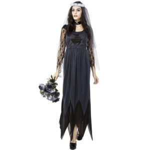 Halloween Costume Women Lace Chiffon Black Dress Ghost Bride Clothes Cosplay Game Uniforms, Size: M, Bust: 76cm, Waistline:70cm, Clothes Long:141cm