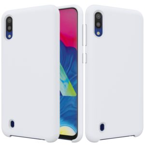Solid Color Liquid Silicone Shockproof Full Coverage Case for Galaxy M10(White)