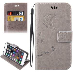 For iPhone 6 & 6s Crazy Horse Texture Printing Horizontal Flip Leather Case with Holder & Card Slots & Wallet & Lanyard(Grey)