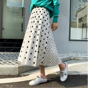 Splicing Knit Thick Elastic Waist A-line Skirt, Size: One Size(White )