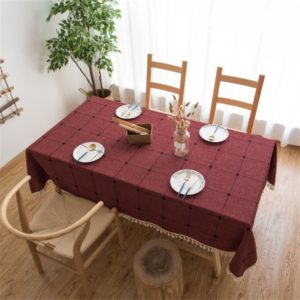 Square Lattice Embroidered Tablecloth Pure Color Cotton Linen Tassel Rectangular Coffee Table Mat, Size:60x60cm(Red)