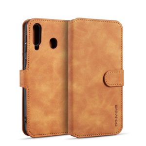 DG.MING Retro Oil Side Horizontal Flip Case for Galaxy M30, with Holder & Card Slots & Wallet (Brown)