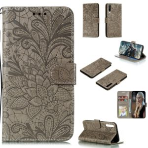 For Huawei Honor Play 3 Lace Flower Horizontal Flip Leather Case with Holder & Card Slots & Wallet & Photo Frame(Grey)