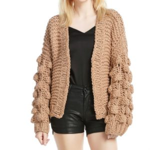 Handmade Ladies Hook Flower Hollow Knit Cardigan, Size: One Size( Camel )