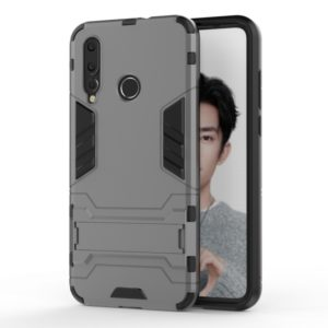 Shockproof PC + TPU Case for Huawei Nova 4, with Holder (Grey)