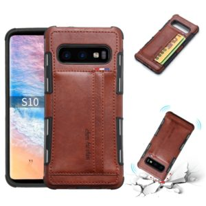 For Galaxy S10 PU + TPU Shockproof Protective Leather Case with Card Slots(Brown)