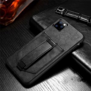 For iPhone 11 Pro Max SULADA Shockproof TPU + Handmade Leather Protective Case with Holder & Card Slot & Hand Strap(Black) (SULADA)