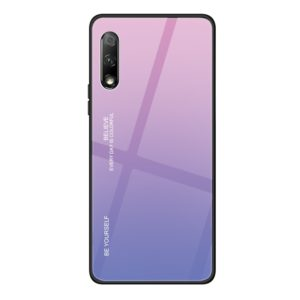 For Huawei Honor 9X Gradient Color Glass Case(Light Purple)