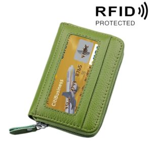 Genuine Cowhide Leather Solid Color Zipper Horizontal Card Holder Wallet RFID Blocking Card Bag Protect Case with 12 Card Slots, Size: 11.5*7.5cm(Green)