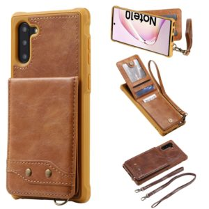 For Galaxy Note 10 Vertical Flip Wallet Shockproof Back Cover Protective Case with Holder & Card Slots & Lanyard & Photos Frames(Brown)