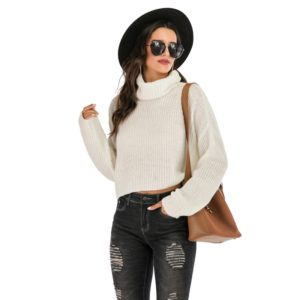 Solid Color Long-sleeved Turtleneck Pullover Sweater (Color:White Size:L)