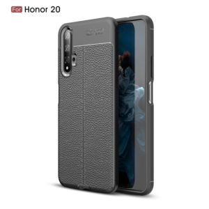 Litchi Texture TPU Shockproof Case for Huawei Honor 20(Black)