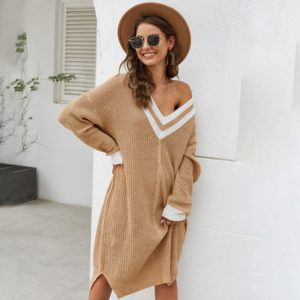 Long Section Striped V-neck Pullover Knitted Sweater Dress Loose (Color:Brown Size:L)