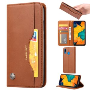Knead Skin Texture Horizontal Flip Leather Case for Samsung Galaxy A40, with Photo Frame & Holder & Card Slots & Wallet(Brown)