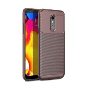 Carbon Fiber Texture Shockproof TPU Case for LG Q Stylo 5 (Brown)