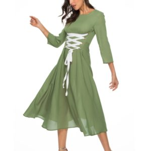 Round Neck Sleeves with Large Contrast Color Straps Waist Long Dress (Color:Green Size:M)